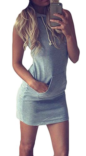 Striped Cotton Dresses Cromoncent Sleeveless Gray Workout Active Short Women 1xgXgt0