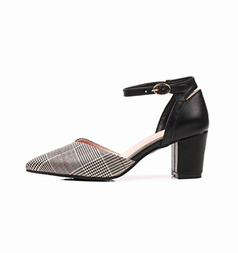 Mee Shoes Damen Chunky Heels Mehrfarbig Ankle Strap Pumps Rot