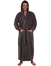 Mens Turkish Terry Cloth Robe, Long Cotton Hooded Bathrobe