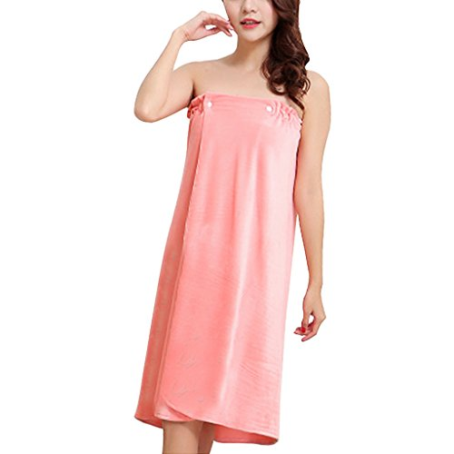 Women Girls Sexy Bath Wrap Towels, Super Absorbent Soft Velour Gym Spa Bath Beach Pool Shower Drying Towel Bathrobe Travel Swim Body Wrap Terry Robe Bathing Tube Dress Cover up Sleepwear Nightgown,Pink,One Size ()