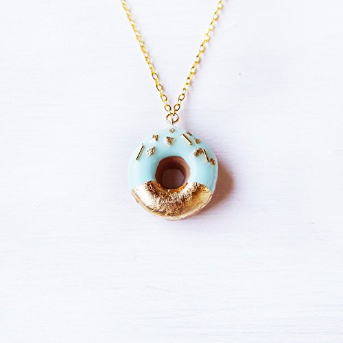 Elfi Handmade Gold and Mint Sprinkle Doughnut Necklace, Donut, Miniature Dessert Food Jewelry, Elegant, Kawaii, Donut Charm, Wedding Gift, Perfect for…