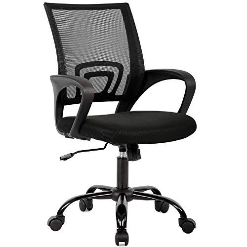 Ergonomic Office Chair Home Desk Chair Task Mesh Computer Chair Gaming with Back Lumbar Support Armrest Modern Swivel Modern Adjustable Rolling Executive Mesh Chair for Women Men(Black)