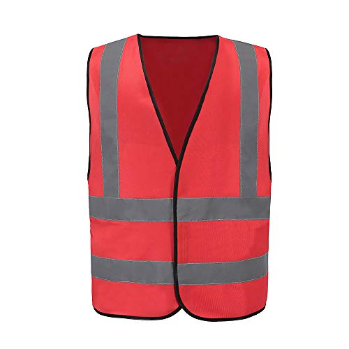 (Enhanced Visibility Multi Colors Vest, A-SAFETY, Hi Vis 2 Band And Braces Waistcoat Red, L)