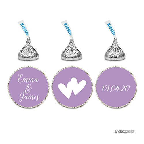 Andaz Press Personalized Wedding Chocolate Drop Label Stickers, Interlocking Double Hearts, Lavender, 216-Pack, for Engagement Bridal Shower Hershey's Kisses Party Favors