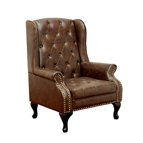 Furniture of America Elmas Traditional Leatherette Wingback Chair, Rustic Brown - Traditional Wingback Chair