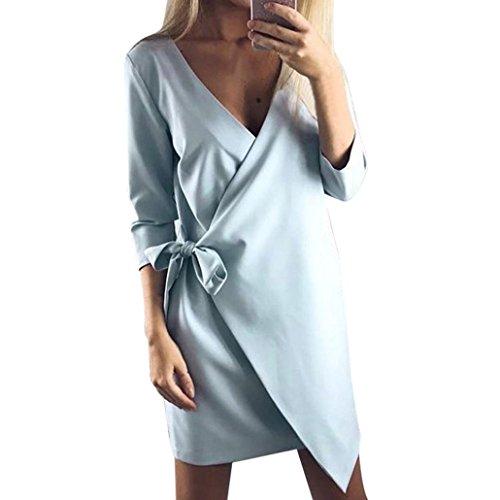 WINWINTOM Mujer Casual Elegante Cuello en V Envuelto Mini Vestido Azul
