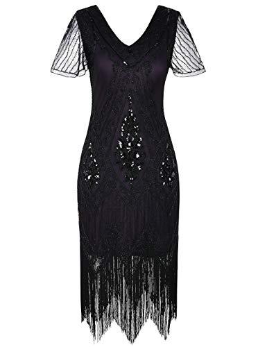 PrettyGuide Women's 1920s Dress Art Deco Cocktail Dress Short Sleeve XXL Black Purple