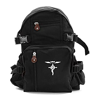 Full Metal Alchemist Flamel Cross Army Sport Heavyweight Canvas Backpack Bag free shipping