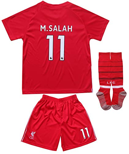 GamesDur Liverpool Mo Salah #11 Home Red Kids Soccer Jersey Set Shirt Short Socks Youth Sizes (Home, 8-9 Years)