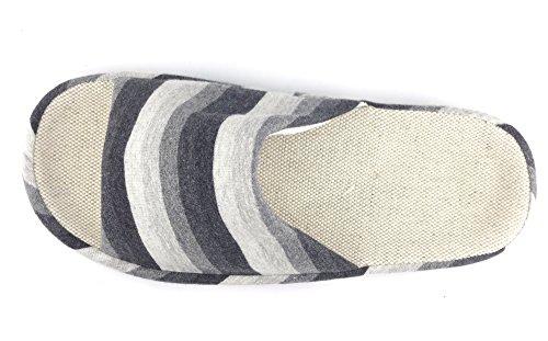 Sfnld Mens Womens Unisex Cotton Linen House Slipper Black oX7DUFKA4d