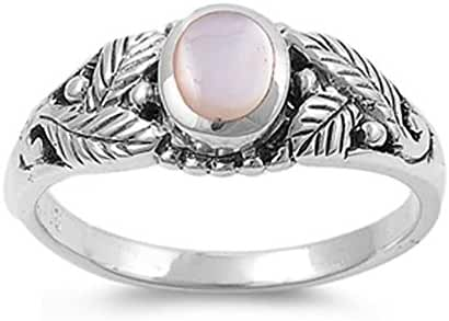 CHOOSE YOUR COLOR Sterling Silver Leaf Ring