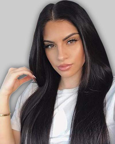 Silky Straight Lace Wig - Chantiche Silky Straight 360 Lace Frontal Wig Pre Plucked-180% Density 360 Human Hair Wigs with Baby Hair Brazilian Remy Virgin Human Lace Wig for Black Women 12inches Natural Color