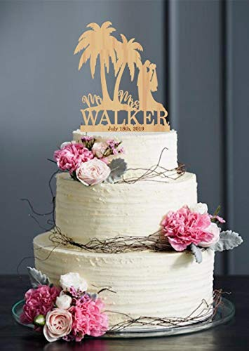 DKISEE Cake Decoration Tropical Wedding Cake Topper, Palm Tree Cake Topper, Palms Cake Toppers for Wedding, Mr Mrs Cake Topper, Bride and Groom Topper, Couple Cake, -