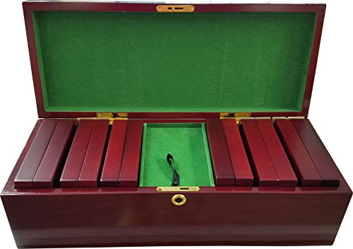 300 Cherry Wood Chip Case 6 Chip Trays + Key NEW Closeout Holds 300 Poker Chips by Las Vegas Style