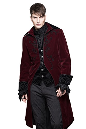 Put Halloween Together Ideas Costume (Gothic Coat Mens Renaissance Halloween Costumes Punk Burgundy Victorian Steampunk Pirate Jacket)
