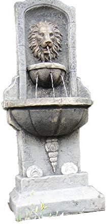 Piedra agua para jardín pluma estilográfica, muy detallada leones pared fuente autónomo al aire libre (función de agua para jardín: Amazon.es: Jardín