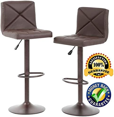 PU Leather Bar Stools Barstools Swivel Stool Set of 2 Modern Height Adjustable Hydraulic Armless Bar Chairs with Back Kitchen Counter Bar Stools Dining Chairs,Brown