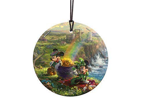 Trend Setters Disney Mickey and Minnie Mouse - Ireland - Thomas Kinkade - Irish Rainbow Pot of Gold - Light Catcher Suncatcher Hanging Glass Collectible - for Gifting and Collecting Ltd.