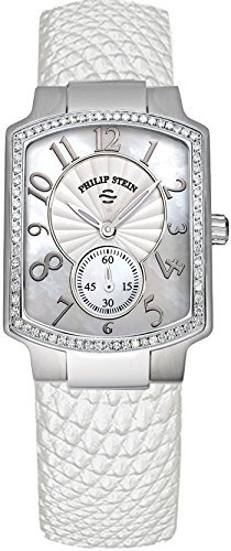 Women's Philip Stein Stainless steel Diamond Watch, White Lizard Leather Strap, 21D-FMOP