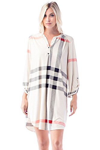 Allora Betsy Red Couture Women's Plus Size 3/4 Sleeve Soft Knit Tunic Dress (L, Cream/Black/Red Plaid) (Beaded Crochet Skirt)