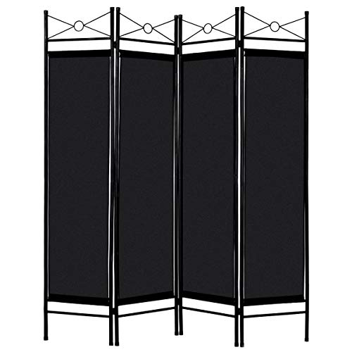 Giantex 4 Panel Room Divider Screens Steel Frame & Fabric Surface Freestanding Room Dividers and Folding Privacy Screens Home Office, ()