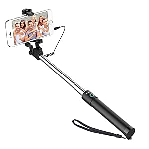 JETech Battery Free Selfie Stick Extendable Cable Control Self-Portrait Monopod Pole with Mount Holder