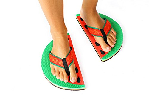 Handmade flip flops Vegan Organic Watermelon Flip Flops Slippers Gift (S)