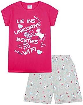 ThePyjamaFactory - Pijama corto para niñas, diseño con texto en inglés «Lie Ins Unicorns Besties Wifi», de 9 a 16 años, color rosa