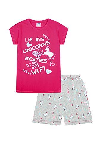 ThePyjamaFactory, Meisjespyjama kort met opdruk 'Lie Ins Unicorns Besties Wifi', roze maat 9-10 jaar, roze