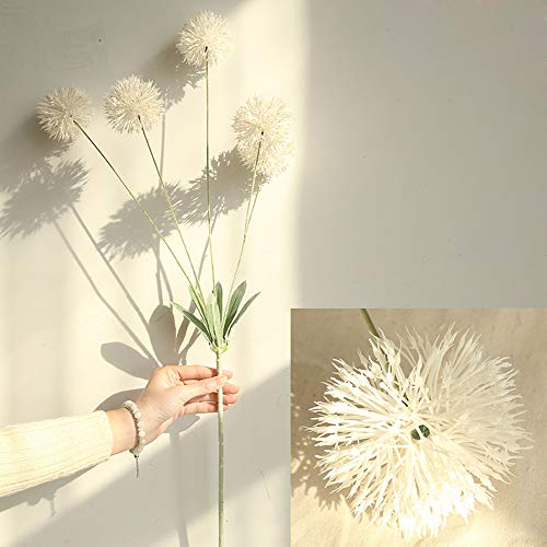 Fine Artificial Silk Fake Flowers Dandelion Floral Wedding Bouquet Hydrangea Decor (White) (Silk Plant Centerpiece)