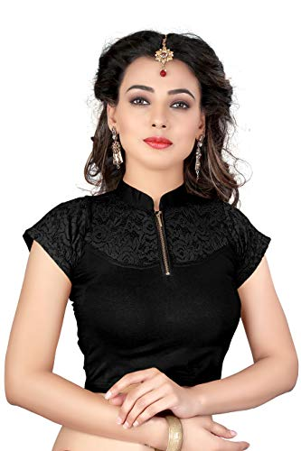 Indian Ethnic Design Stretchable Cotton Lycra Blouse Black Tops Readymade Saree Blouses Short Sleeve Crop Top