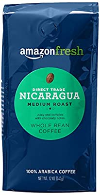 AmazonFresh Direct Trade Nicaragua Coffee, Medium Roast, Whole Bean, 12 Ounce