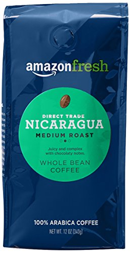 AmazonFresh Direct Trade Nicaragua Coffee, Medium Roast, Whole Bean, 12 Ounce
