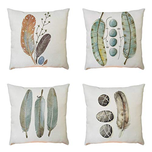 (GONGting Set of 4 Pillow Covers 18x18 Farmhouse Feather Cushion Case Pillowcase with Zipper Decorations for Couch Sofa Home Livingroom (A))