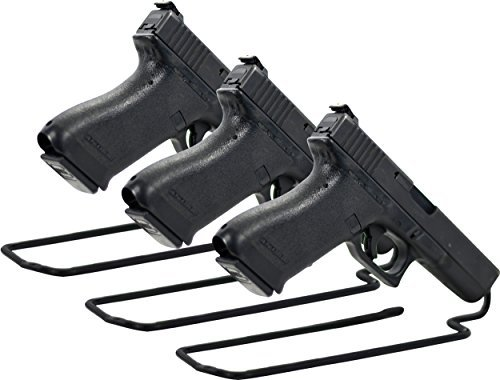 - Boomstick Gun Accessories Stand Style Vinyl Coated Metal Handgun Pistol Rack (Pack of 3), Black