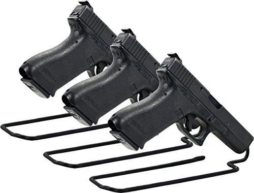 Handgun Rack - Boomstick Gun Accessories Stand Style Vinyl Coated Metal Handgun Pistol Rack (Pack of 3), Black