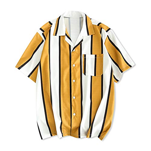 ZAFUL Men's Casual Short Sleeves Color Block Stripes Print Button Up Shirt (Golden Brown, M) (Shorts Brown Striped)