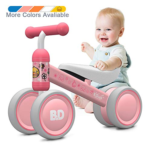 Ancaixin Baby Balance Bikes Bicycle Children Walker 10 Month - 24 Month Toys for 1 Year Old No Pedal Infant 4 Wheels Toddler Best First Birthday New Year Gift Pink Duck