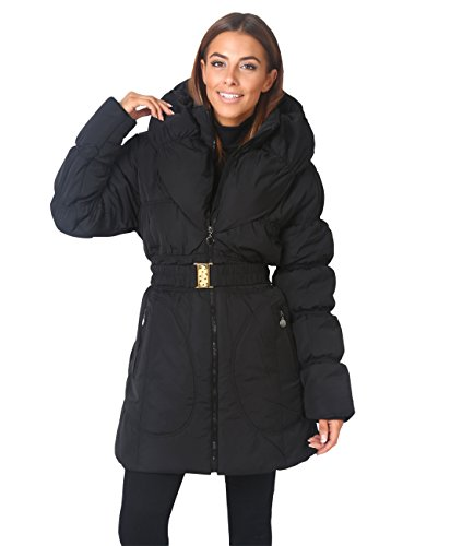 Blk Parka (Wing Collar Quilted Puffa Coat (Black, US 8 ),[5464-BLK-12])