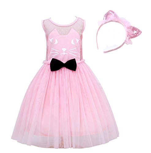 Eafior Kids Little Girls Princess Cute Cat Pattern Bow tie Dress Clothing+Cat ears hair band 2-piece Outfit
