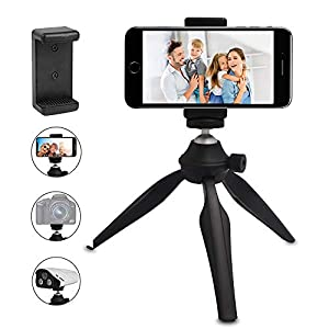 Mini Phone Tripod, LINKCOOL Lightweight Tabletop Tripod for IPhone/Samsung/Cellphone/Camera/DSLR come with 360 Camera Rotating Metal Ball Head and Universal Phone Mount Holder(Black)