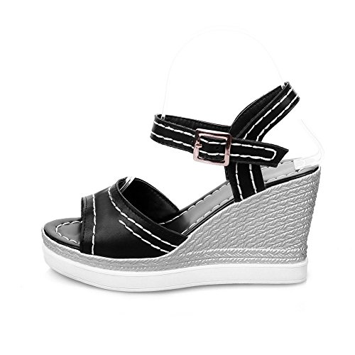 Solid Black Material Open Soft Heels High Wedges Buckle Women's Toe amp; Platforms WeenFashion CRqw4XSq