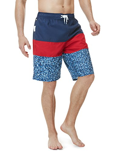 TSLA Men's 11 Inches Swimtrunks Quick Dry Water Beach, Color Block(msb02) - Navy & Red, X-Large.]()