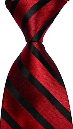 Mr.ZHANG New Classic Striped JACQUARD WOVEN Silk Men's Tie Necktie - Black Men Tie In