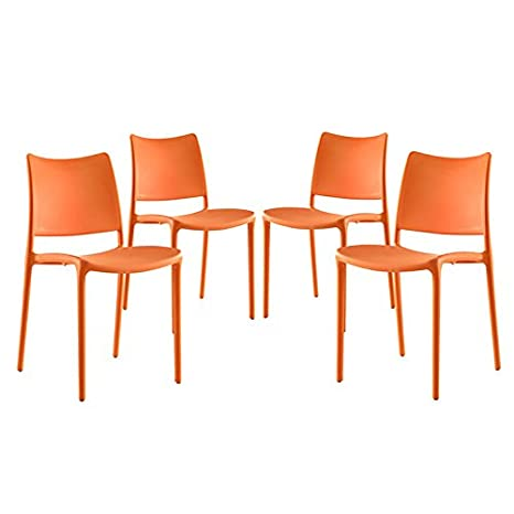 Stupendous Modway Hipster Contemporary Modern Molded Plastic Stacking Four Kitchen And Dining Room Chairs In Orange Fully Assembled Camellatalisay Diy Chair Ideas Camellatalisaycom