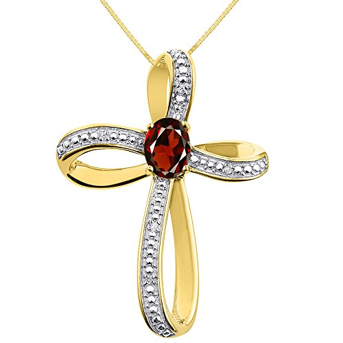 Diamond & Garnet Cross Pendant Necklace Set In 14K Yellow Gold with 18