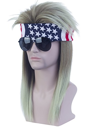 (Angelaicos Unisex Mullet Wig 70s 80s Vintage Retro Rocker Disco Long Brown Green Hair Bandana)