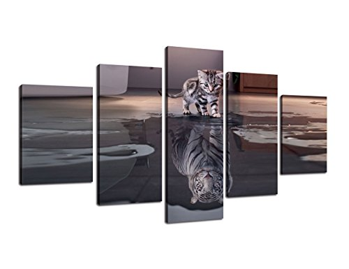 (Inspiration Wall Art 5 Panels Small Cat Big Tiger Canvas Painting Cute Animal HD Prints Pictures Poster Artwork Giclee for Living Room Home Decor Wooden Framed Stretched Ready to Hang (60''Wx32''H))