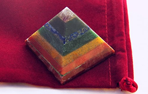 (7 Stone Crystal 5 Sided Chakra Balancing Pyramid, Red Jasper, Carnelian, Aventurine, Lapis Lazuli,)