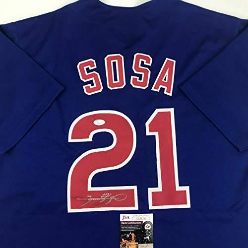 (Sammy Sosa Autographed Jersey - Blue COA - JSA Certified - Autographed MLB Jerseys)